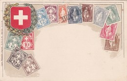 STAMPS RELATED CARD -SWITZERLAND -EMBOSSED. - Stamps (pictures)