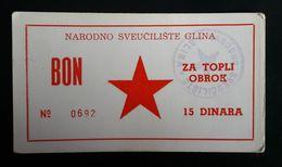 CROATIA Glina National University  15 Dinara Coupon For Meal - Croatie