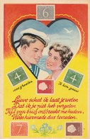 STAMPS RELATED POSTCARD . DUTCH.  ROMANCE - Stamps (pictures)
