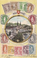 STAMPS RELATED POSTCARD . LUCERNE, SWITZERLAND - Stamps (pictures)