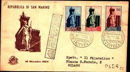 87228) San Marino-FDC-serie Statua Della Libertà + POSTA AEREA - 16 Dicembre 1954 - FDC