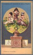 Chromo Chocolat Guerin-Boutron Bordure Dorée Or Lanterne Magique Entrevue Troublée Pierrot Arlequin - Guerin Boutron