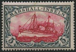MARSHALL-INSELN 25 *, 1901, 5 M. Grünschwarz/dkl`karmin, Ohne Wz., Falzreste, Pracht, Signiert, Mi. 170.- - Kolonie: Marshall-Inseln