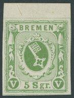 BREMEN 4c *, 1859, 5 Sgr. Grün, Oberrandstück, Falzrest, Pracht, Signiert - Bremen