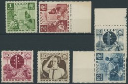 SOWJETUNION 542-47 **, 1936, Pioniere Helfen Der Post, Postfrischer Prachtsatz (6 Werte) - 1917-1923 Republic & Soviet Republic