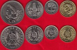 Guatemala Set Of 4 Coins: 1 - 25 Centavos 1991-1992 UNC - Guatemala