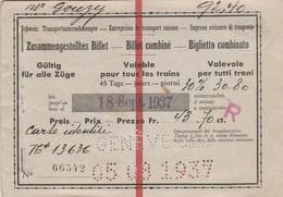 BILLET COMBINE DE TRAIN SUISSE 1937  - TDA225 - Chemins De Fer