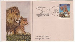 "Rhino Rhinoceros Lion Panda, Preserve Wildlife"" Catchet, Wild Animal Environment Nature. India Cover 1981 Wildlife Week - Rhinozerosse"