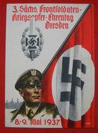 """""""Frontsoldaten Dresden 1937"""",Propagandakarte Mit Soldat U.Hakenkreuzfahne, Ungebraucht Top - Deutschland"""