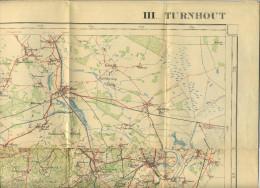 Turnhout : Oude Militaire Staff Kaart (formaat  97 X68 Cm) : Kasterlee - Retie-Bree-Herentals-Leopoldsburg ............. - Turnhout