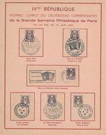 1946 - CHAINES BRISEES - GRANDE SEMAINE PHILATELIQUE DE PARIS 25-5 AU 10-6-1946 - LES 10 OBLITERATIONS - PAS COURANT(P1) - 1921-1960: Periodo Moderno
