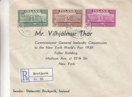 Islande - Lettre Recom De 1939 ° - Oblit Reykjavik - Exp Vers New York - Université - 1918-1944 Administration Autonome