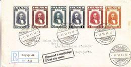 Islande - Lettre Recom De 1944 - Oblit Reykjavik - Exp Vers Reykjavik - Président - Valeur 100 Euros - 1918-1944 Administration Autonome
