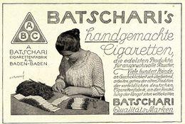 Original-Werbung/ Anzeige 1924 - BATSCHARI'S HANDGEMACHTE CIGARETTEN - BADEN-BADEN -  Ca. 135 X 90 Mm - Werbung