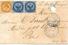 Petit Devant De Lettre De Basse Terre Cachets Bleus Annee 1871 - Guadeloupe (1884-1947)