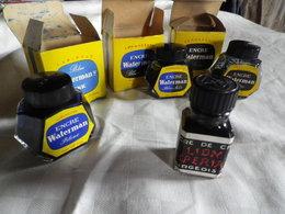 3 Anciens Flacons D'encre Noir-Bleu-noir- Bleu Waterman Avec Boite + 1Bourgeois - Encriers