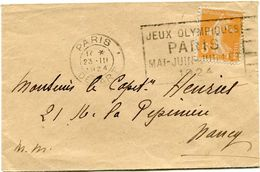 FRANCE THEME J.O. LETTRE AVEC FLAMME JEUX OLYMPIQUES PARIS MAI-JUIN-JUILLET 1924 DEPART PARIS 23 III 1924 POUR LA FRANCE - Estate 1924: Paris