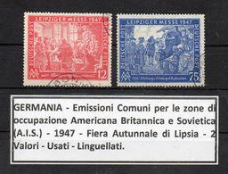Germania - A.I.S - 1947 - Fiera Autunnale Di Lipsia - 2 Valori - Usati - Linguellati - (FDC8910) - Gemeinschaftsausgaben