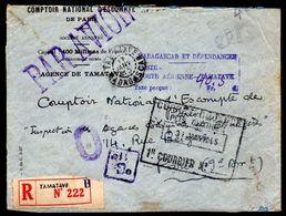 Lettre Recommandé De Tamatave Madagascar,Par Avion 1945, Taxe Perçue  Tampon - Briefe U. Dokumente