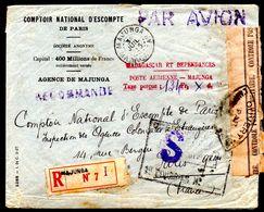 Lettre Recommandé De Majunga   Madagascar,Par Avion 1945, Taxe Perçue  Tampon - Briefe U. Dokumente