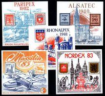 5 Blocs Alsatec - Rhonalpex - Paripex - Nordex - Massilia Neuf ** - Non Classés
