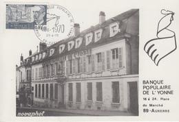 Carte   FRANCE  Cinquantenaire   BANQUE  POPULAIRE  DE  L' YONNE     AUXERRE   1970 - Cachets Commémoratifs