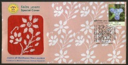 India 2014 World Famous Chikan Hand Art Lucknow Textile Embroidery Bird Special Cover + Brochure # 7447 Inde Indien - Textile