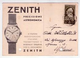 Invio Postale Cronometro ZENITH, Precisione Astronomica. Orologeria Pompilio Caccini (Intra) 1938 - Pubblicitari
