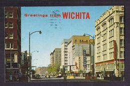 CPSM USA - KANSAS - WICHITA - Greetings From Wichita - TB  PLAN RUE CENTRE VILLE ANIMATION MAGASINS 1961 - Wichita