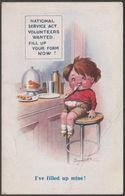 Donald McGill - National Service Act Volunteers Wanted, C.1910 - Inter-Art Comique Postcard - Mc Gill, Donald