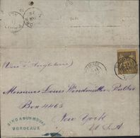 YT 93 Sage 35 Ct Violet Noir Sur Jaune Seul Sur Lettre Cote 180 Euros Pour Les USA - Marcophilie (Lettres)