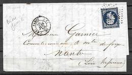 FRANCE 14 Aa Bleu Foncé Sur Lettre - 1853-1860 Napoléon III