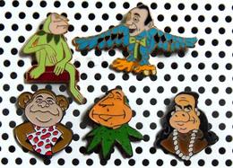 Lot 5 Pin's Hommes Politiques Bébête Show Dont BARRE MARCHAIS ROCARD & 2 MITTERRAND - Dont 2 émaillés - Celebrities