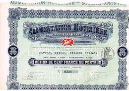 Ancienne Action - Alimentation Hôtelière - Etablissements Henri Lunel - Titre De 1914 - Industrie