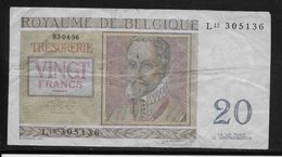Belgique - 20 Francs  - 3-4-1956 - Pick N°132 - TB - [ 2] 1831-... : Royaume De Belgique