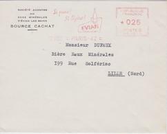 FRANCE 1962 LETTRE DE PARIS EMA THEEME EAU EVIAN - Storia Postale