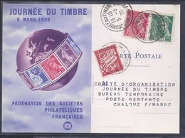 Carte Federale Journee Du Timbre 1939 Chalons Sur Marne Mercure  Taxe - France