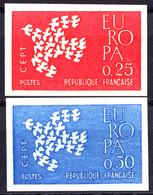 "FRANCE - N°1309/1310 - EUROPA 1961 - ""OISEAUX"" - NON DENTELES - LUXE. - Ongetand"