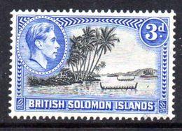 Solomon Islands 1939-51 3d P. 12 Roviana Canoes Definitive, Hinged Mint, SG 65a (B) - British Solomon Islands (...-1978)
