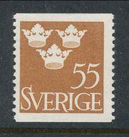 Sweden 1948 Facit # 285, Three Crowns, 55 öre, Brown, MNH (**) - Ungebraucht