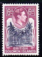 Solomon Islands 1939-51 6d Coconut Plantation Definitive, Hinged Mint, SG 67 (B) - British Solomon Islands (...-1978)