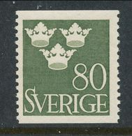 Sweden 1948 Facit # 290, Three Crowns, 80 öre, Olive-green, MNH (**) - Nuovi