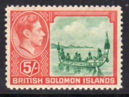Solomon Islands 1939-51 5/- Malata Canoe Definitive, Hinged Mint, Lightly Toned Gum, SG 71 (B) - British Solomon Islands (...-1978)
