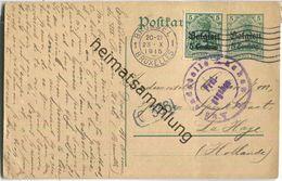 5 Centimes - Landespost In Belgien - Postkarte Rechts Vom Teilungsstrich - Zensur - Gelaufen 1915 Nach Holland - Occupazione 1914 – 18