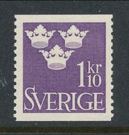 Sweden 1948 Facit # 296, Three Crowns, 1,10 Kr, Violet, MNH (**) - Nuovi