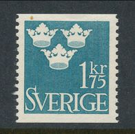 Sweden 1948 Facit # 305, Three Crowns, 1,75 Kr, Blue, MNH (**) - Nuovi