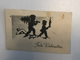 AK   SILHOUETTE   FROHE WEIHNACHTEN   CHRISTMAS - Silhouettes