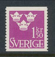 Sweden 1951 Facit # 302, Three Crowns, 1.50 Kr, Red-violet, MNH (**) - Schweden
