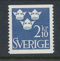 Sweden 1954 Facit # 304, Three Crowns, 2.10 Kr, Blue, MNH (**) - Nuovi