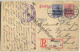 10 Centimes - Landespost In Belgien - Postkarte Rechts Vom Teilungsstrich - Einschreiben - Zensur - Occupazione 1914 – 18